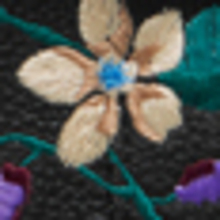 Black Flower Embroidery Small Classic Grain